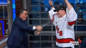 Stephen Colbert brings in emergency goalie David Ayres to 'save his day'