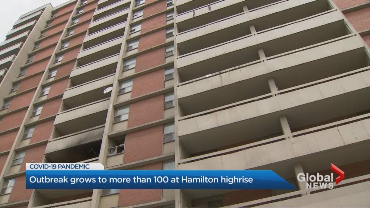 Click to play video: 'Over 150 cases linked to COVID-19 outbreaks at 3 Hamilton apartments'