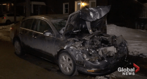 1 taken to hospital after car slams into parked truck in Peterborough (00:45)