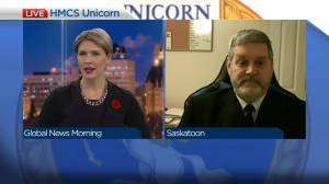 HMCS Unicorn commanding officer on Remembrance Day (03:59)