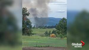 Aerial crews attacking mill fire north of Vernon (01:12)