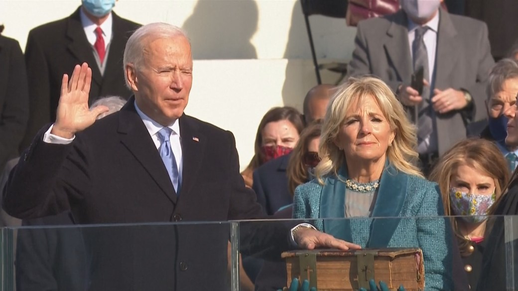 Click to play video 'President Biden preaches healing and unity in unprecedented U.S. inauguration ceremony'