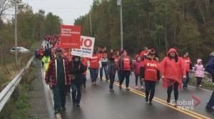 Hundreds marched from Pictou Landing First Nation to shut down Northern Pulp