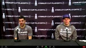 Dylan DeMelo and Paul Stastny speak after Game 2 win (06:58)
