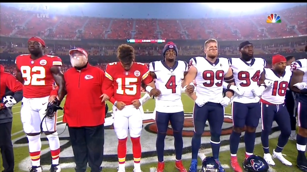 Click to play video: 'Some NFL fans heard booing during moment of silence for racial unity'