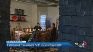 Coronavirus: Premier Doug Ford urges Ontario residents to only celebrate with their household this Thanksgiving (02:14)