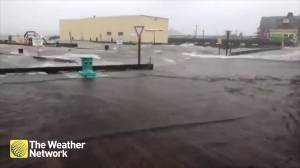Halifax waterfront turns into large splash pad during Hurricane Dorian
