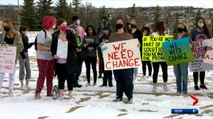 Calgary students stage walk out protesting sexual harassment (01:53)