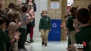 Classmates celebrate Ohio boy's final chemo treatment