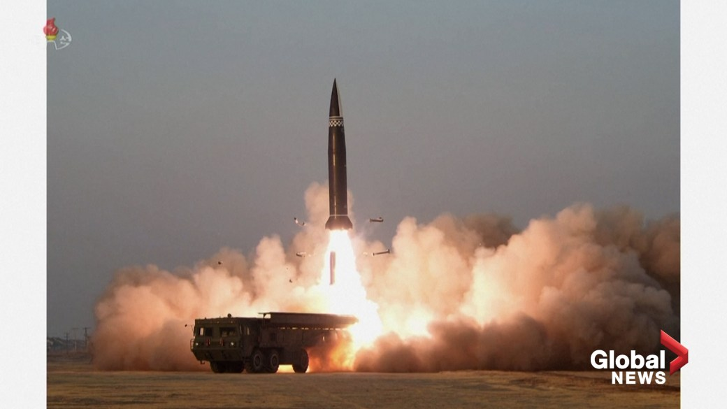 Click to play video: 'North Korea missiles test-launched as seen in photos from state TV'