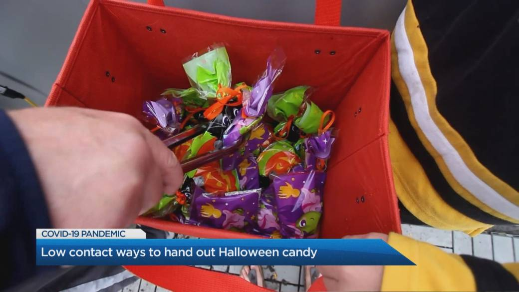 Click to play video 'Low contact ways to hand out Halloween candy'