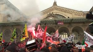 Public transport unions protest in Paris against pension reform plan