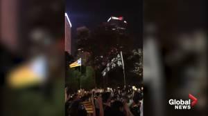 Hong Kong protesters show solidarity with Catalonia