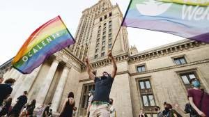 People in Poland protest to support arrested LGBTQ activist