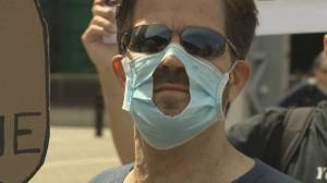 British Columbians opposed to wearing masks hold Vancouver protest