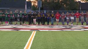 Hamilton high school football team honours slain teen