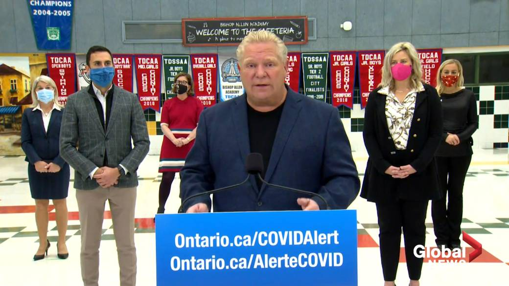 Click to play video 'Coronavirus: Ford says' it was the right decision 'to close restaurants and gyms again'
