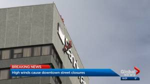 Windy weather causes concerns over sign on Calgary hotel