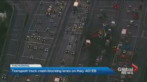 Truck driver charged after Highway 401 crash in North York closes eastbound lanes