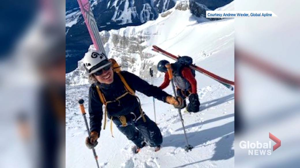Click to play the video: 'First ski drop on the east side of Mount Cascade'