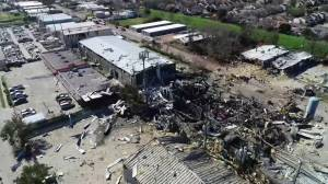 Drone footage captures aftermath of explosion at Houston machine shop