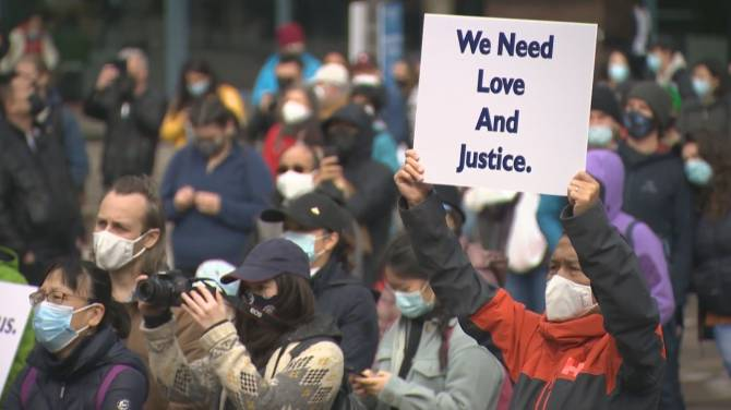 Click to play video: Hundreds attend a rally to Stop Anti-Asian Hate in Downtown Vancouver