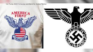 Trump 2020 campaign accused of using symbol that critics say resembles Nazi eagle logo (00:58)