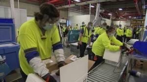Coronavirus: Pfizer workers cheer as first COVID-19 vaccines are shipped from U.S. facility (03:01)