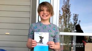 Calgary-area school creates 'really heartwarming' book to help Horton and his fellow wolfdogs (01:42)