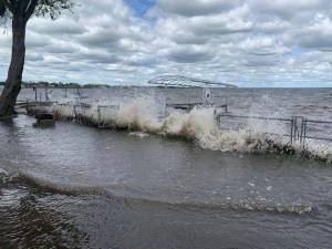 Rising lake water threatens properties in Alberta Beach area