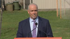 John Horgan takes questions on his promise in 2017 not to call an early election
