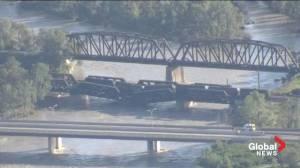 On scene: Train bridge in Calgary in danger of collapsing