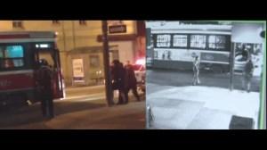 Split screen view of two angles of Sammy Yatim Toronto streetcar shooting