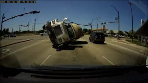 Incredible dash cam video of cement truck crash
