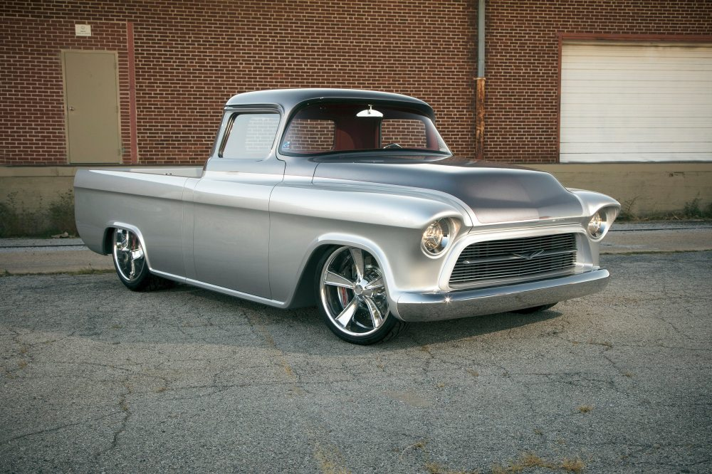 medium resolution of this 1957 chevrolet 3100 custom truck better known as quicksilver is a 2014 barrett jackson cup winner and has been recognized as one of the finest