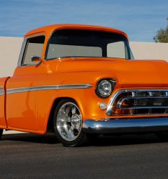 this 1957 chevrolet cameo pickup finished in full custom orange pearl paint sold for 159 500 in scottsdale arizona in 2007  [ 2880 x 1781 Pixel ]