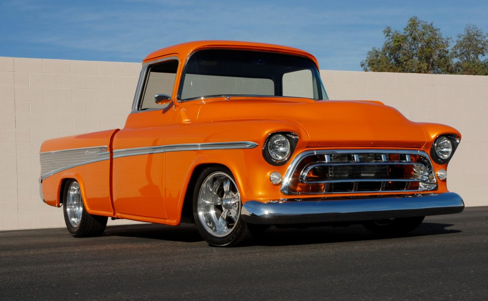 medium resolution of this 1957 chevrolet cameo pickup finished in full custom orange pearl paint sold for 159 500 in scottsdale arizona in 2007