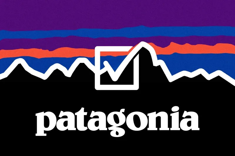 Patagonia logo with a check mark