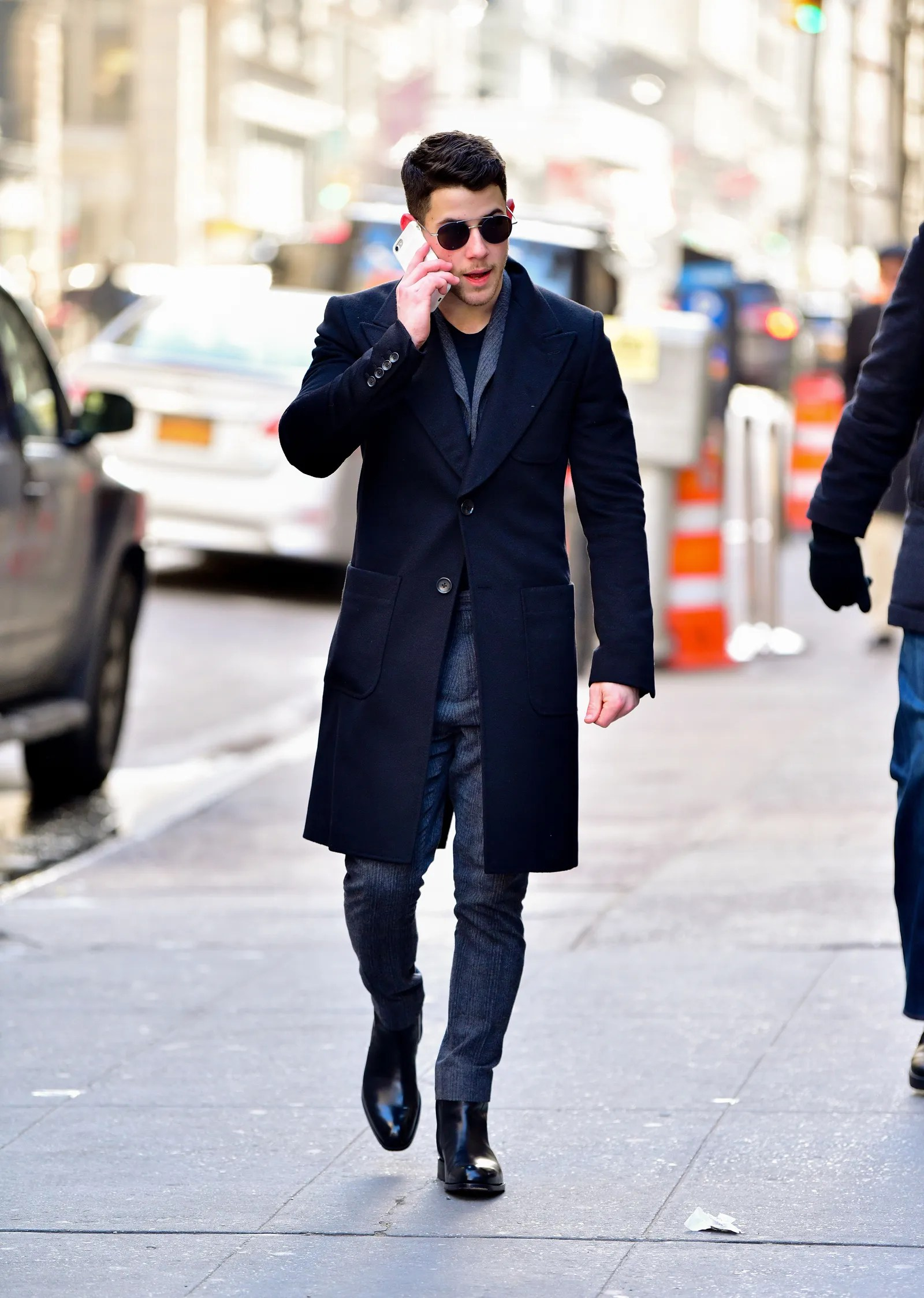 NEW YORK NY JANUARY 31 Nick Jonas seen walking in the Flatiron District on January 31 2018 in New York City.