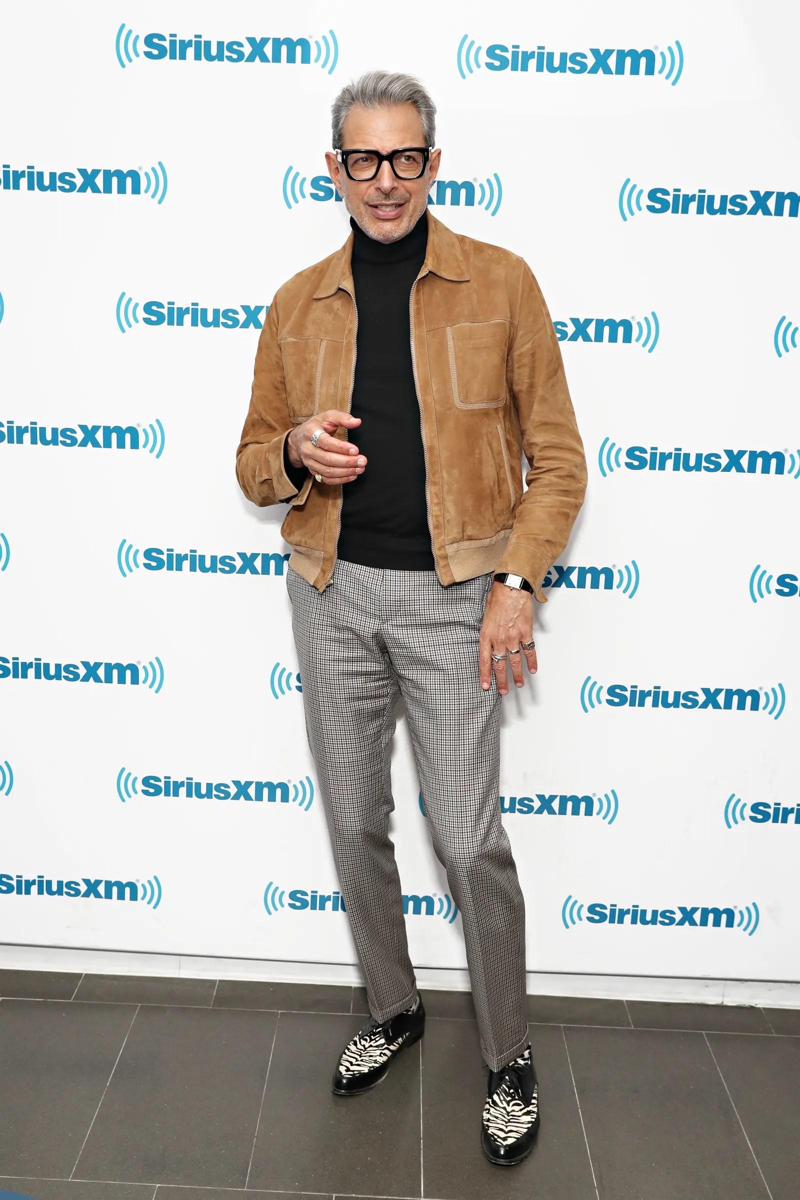 NEW YORK NY NOVEMBER 13 Jeff Goldblum performs on SiriusXM's Real Jazz Channel at the SiriusXM Studios on November 13...