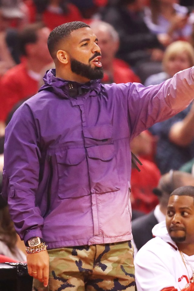 TORONTO ONTARIO MAY 19 Rapper Drake attends game three of the NBA Eastern Conference Finals between the Milwaukee Bucks...