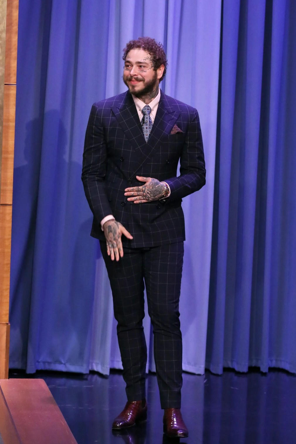 THE TONIGHT SHOW STARRING JIMMY FALLON  Episode 1103  Pictured Rapper Post Malone arrives to the show on August 6 2019