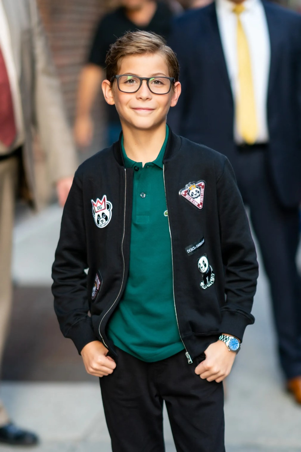 NEW YORK NEW YORK  AUGUST 06 Jacob Tremblay is seen wearing a Dolce  Gabbana jacket Lacoste shirt with Florsheim shoes...