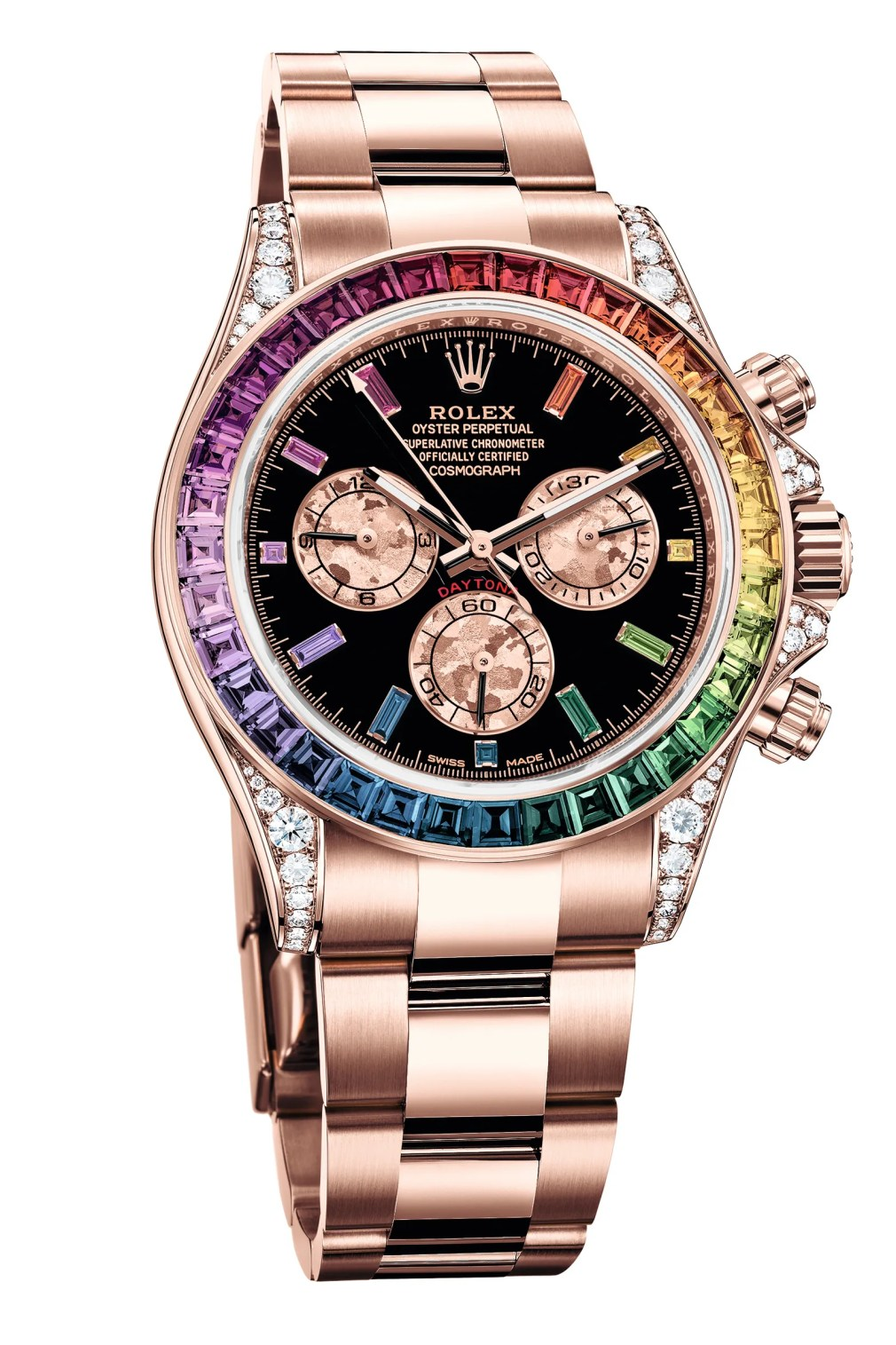 A rose gold watch with a rainbow diamond face