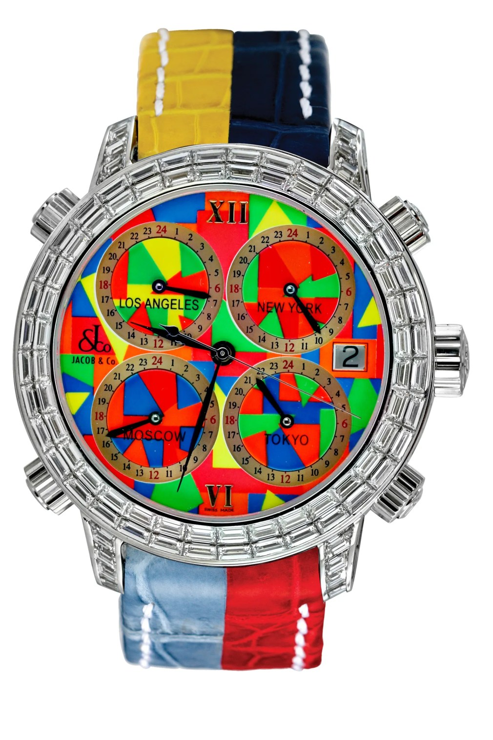 A multicolored watch