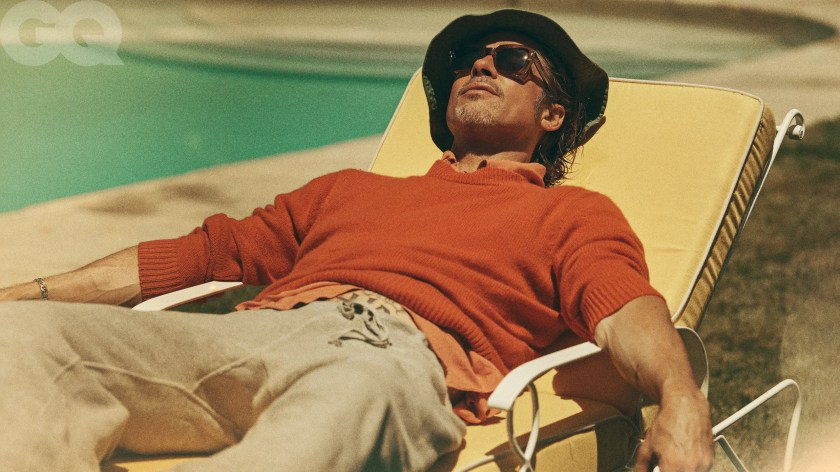 brad pitt in a lounge chair