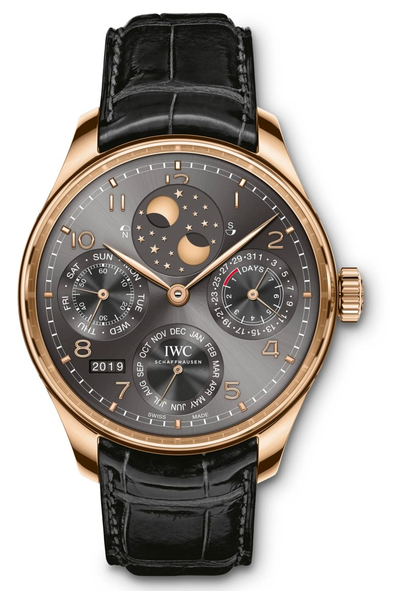 IW503404 Potugieser Perpetual Calendar Front in 18carat red gold with black alligator leather strap Mechanical movement ...