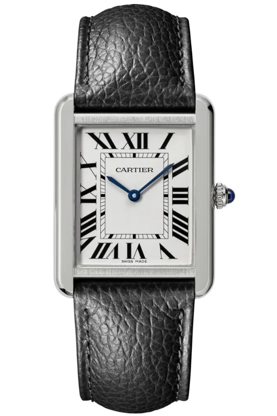 a silver rectangular watch with a white face
