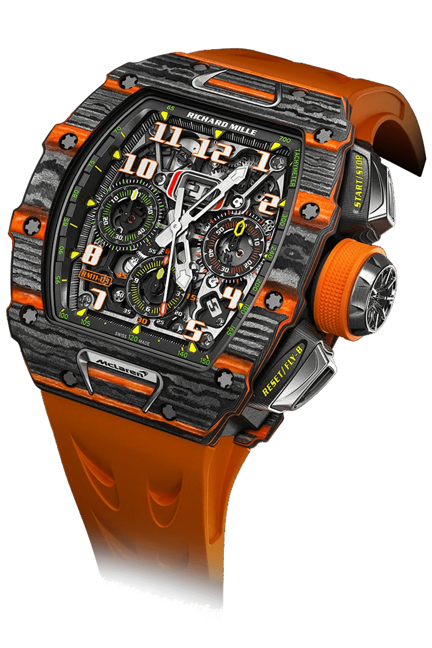 An organ watch with a black and orange face