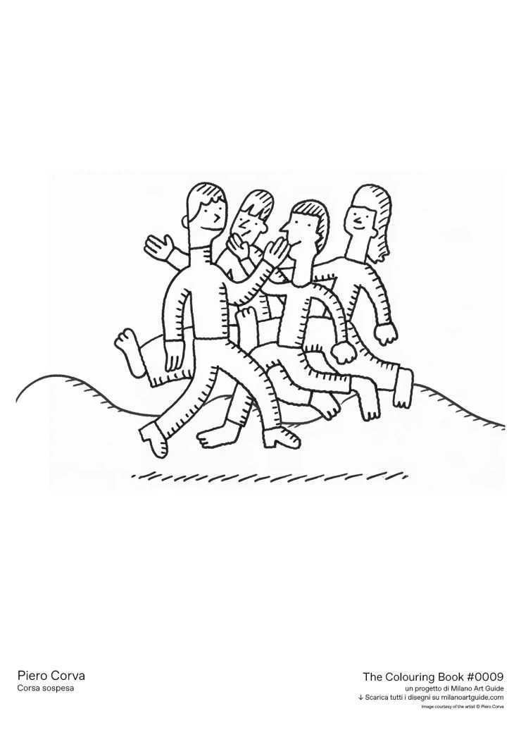 An illustration of people walking by each other